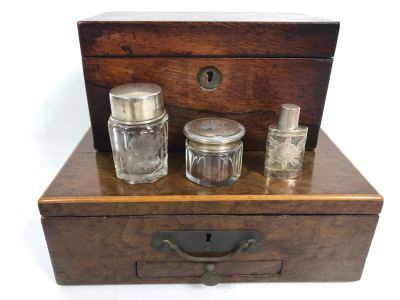 Antique Wooden Tea Box (Top), Antique Wooden Walnut Lock Box (Bottom) And (3) Glass Bottles With Sterling Silver Lids 20g+ Sterling Silver
