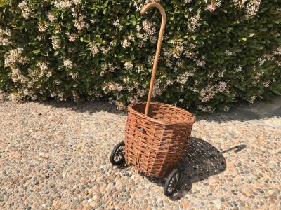 Vintage Wicker Basket Cart With Wheels And Cane Handle 39'H