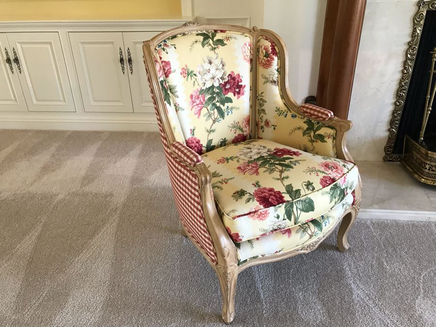 Pair Of Elegant Upholstered Armchairs