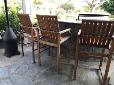 Set Of (3) Bar Height Teak Wooden Armchairs - Arm Rests 37'H 23'W 48.5'TH