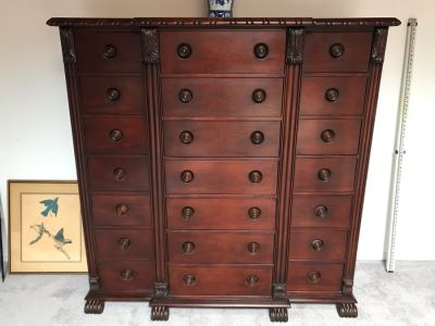 "Ralph Lauren Gentleman's Mahogany 21-Drawer Chest Of Drawers Dresser - Estimate $5,000 65""W X 21""D X 64.5""H"