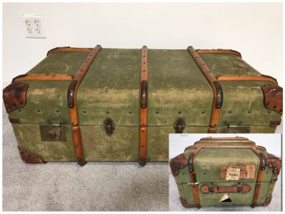 "Vintage Canvas, Leather And Wooden Railroad Suitcase Luggage Baggage With Railway Stickers 37""W X 22""D X 14""H"
