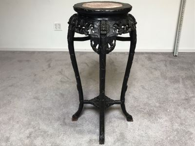 "Antique Chinese Rosewood Fern Stand Table With Marble Top 36""H X 19""W"