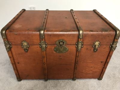 "Vintage Brass And Wooden Steamer Trunk With Railway Stickers And Leather Handles 31""W X 22""D X 22""H"