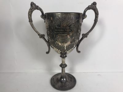 Antique W&H Walker & Hall Sheffield England Tropy Cup Inscribed 'Whittlesea Coursing Club Ralph Hutton's Esq Tropy Won By Goe Hamiltons Heather Lass 9-8-1910' 12'H