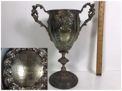 Stunning Ornate Hallmarked Silverplate Trophy Cup Inscribed 'Regimental Sword Prize Awarded To Mr. Charles Bailey Aug 1869 Cavalry' 15'H