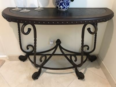 Contemporary Sofa Console Table Dark Brown Finish With Metal Base