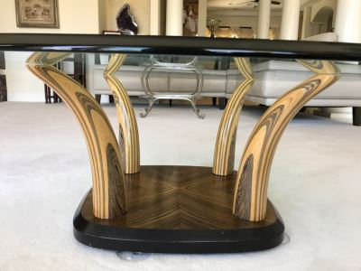 Stunning Henredon Wooden Faux Elephant Tusk Coffee Table With Glass Top 44'W X 16'H