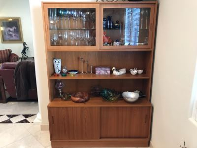 Danish Mid-Century Modern 2-Piece Office Bookcase China Cabinet Teak Veneer Over Plywood With Hutch