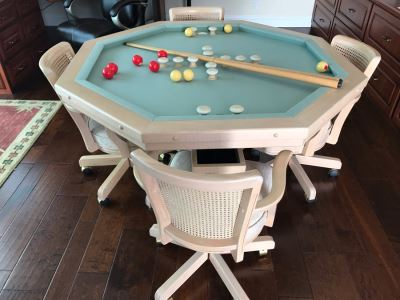 Wooden Pedestal Card Gaming Poker Table With Removable Top Exposing Bumper Pool Table With (4) Chairs, Pool Balls And 2 Pool Sticks 54'W X 30'H