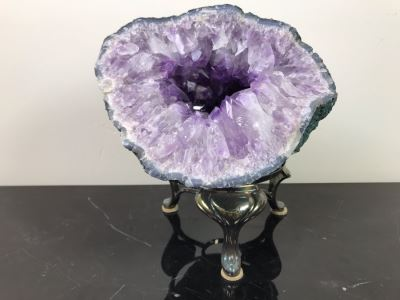 Large Amethyst Crystal Geode With Stand 9.5'W X 8.5'D - See Photos