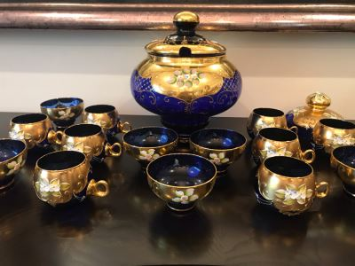 Stunning Vintage Mazzega Murano Cobalt Blue And Gold Hand Crafted Punch Bowl With Extra Lid, 8 Punch Bowl Cups, 6 Coffee Cups With Original Murano Stickers, Vase, Sugar Bowl, With Certificate Of Authenticity