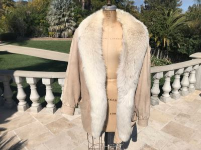 White Fox And Suede Leather Alaskan Custom Built Fur Coat Kansas City Size L