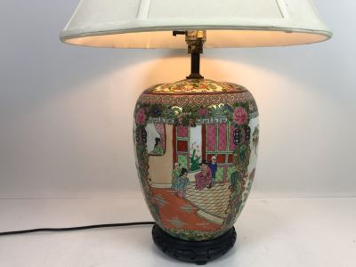JUST ADDED - Chinese Famile Rose Porcelain Vase Table Lamp