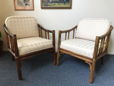 Pair Of Mid-Century Rattan Hollywood Regency Armchairs By Chaircraft Incorporated