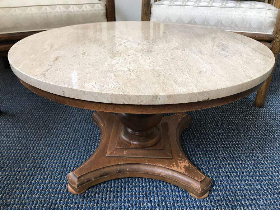 Vintage Travertine Top Pedestal Side Table By Buccola Brothers Crown City Table Company [Photo 1]