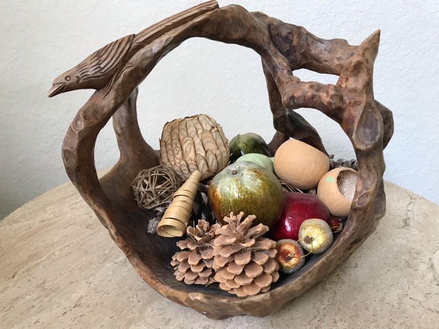 Unusual Wooden Basket Carved From Tree Trunk With Bird Perched On Handle And Faux Fruit And Decorations [Photo 1]
