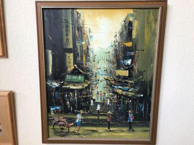 Original Mid-Century Oil Painting Hong Kong City Scene