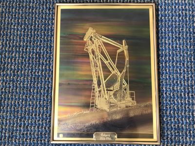 Vintage 1986 Bero Metallic Design Etching By Bernhard Rohne Titled 'Pump Jack' North Vancouver, B.C. Signed Bernhard Rohne 1986 With Brass Plate Titled Calgary 1976-1986 (Client Was In Oil Business) 11.5'W X 15.5'H