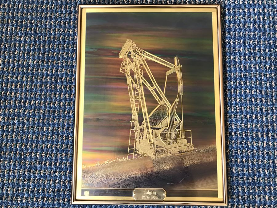 Vintage 1986 Bero Metallic Design Etching By Bernhard Rohne Titled 'Pump Jack' North Vancouver, B.C. Signed Bernhard Rohne 1986 With Brass Plate Titled Calgary 1976-1986 (Client Was In Oil Business) 11.5'W X 15.5'H [Photo 1]