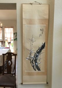 Original Signed Chinese Scroll Painting Floral Scene 70'H X 22'W