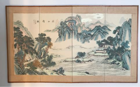 Original Chinese Painting Small Wooden Screen Wall Hanging