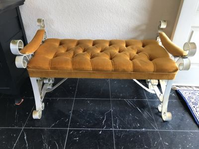 Vintage Tufted Seat Wrought Iron Base Bench 38'W X 20'D