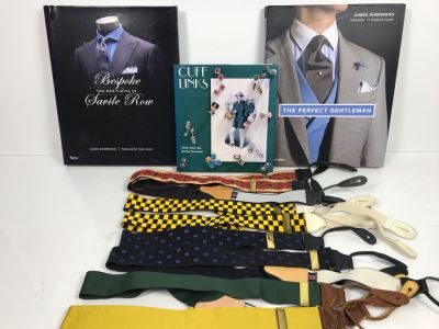 JUST ADDED - Bespoke The Men's Style Of Savile Row Book, Cuff Links Book, The Perfect Gentleman Book And (4) Thurston London Men's Suspenders