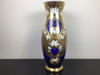 Large Bohemia Crystal Slavia Glassworks Vase Hand Made In Czech Republic 20'H