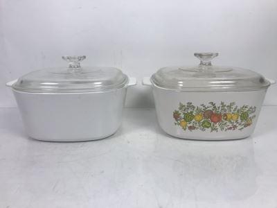 Pair Of Vintage Corningware Casserole Baking Dish