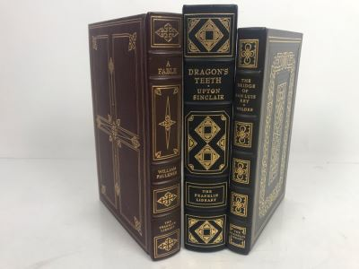 Set Of (3) The Franklin Library Hardcover Books: A Fable By William Faulkner, Dragon's Teeth By Upton Sinclair And The Bridge Of San Luis Rey By Thornton Wilder
