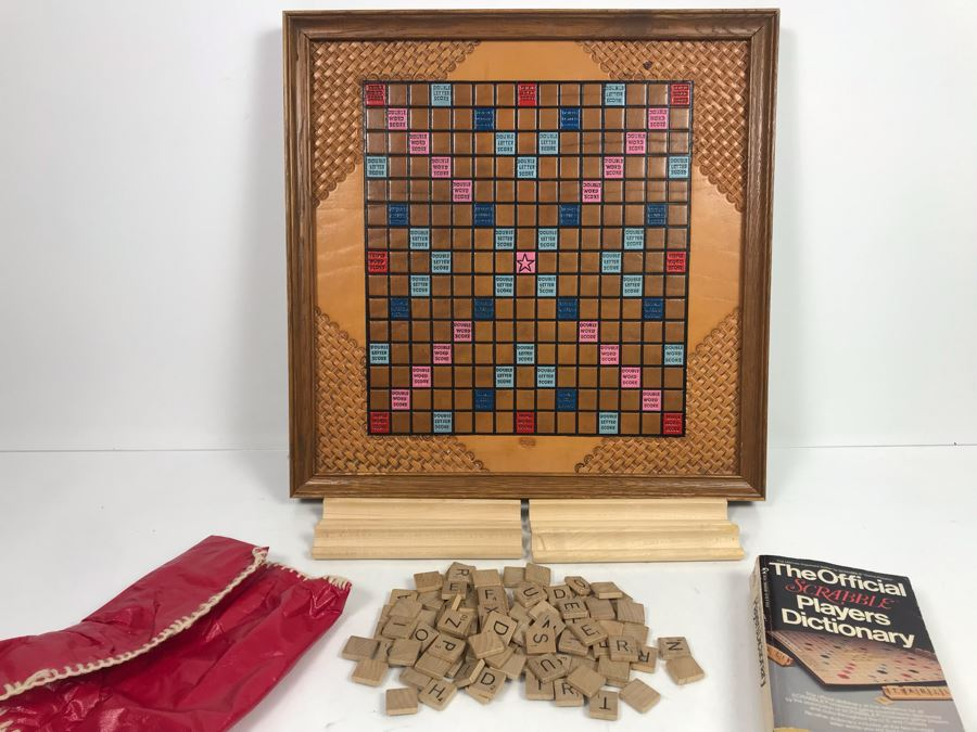 Very Cool Tooled Leather Scrabble Board Game Signed BOB With Wooden Letter Pieces And Official Scrabble Players Dictionary [Photo 1]