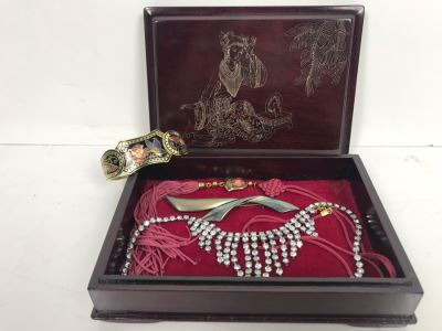 Vintage Wooden Asian Jewelry Box With Collection Of Costume Jewelry