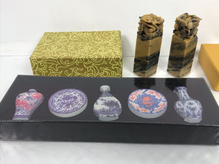Pair Of Chinese Uncarved Stone Chops Seals And Miniature Reproduction Examples Of Qinghua Porcelain Series Vases And Plates [Photo 1]