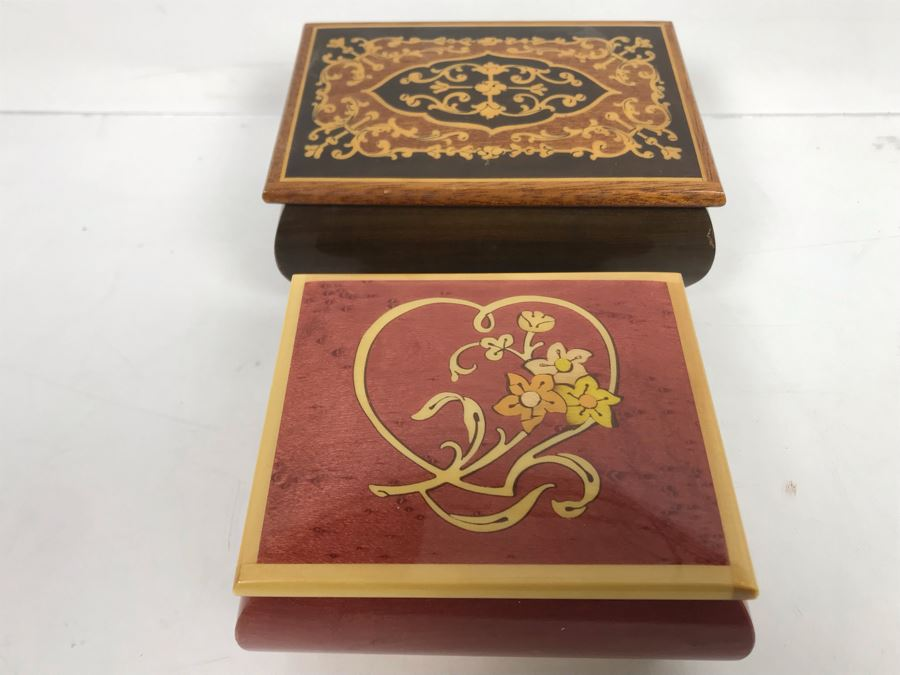 Pair Of Italian Inlaid Wooden Boxes - One Is Music Jewelry Ring Box [Photo 1]