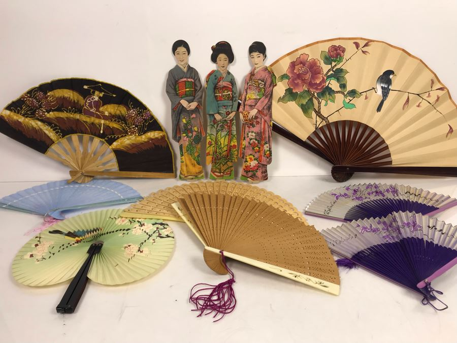 Vintage Asian Fan Collection With Set Of (3) Vintage Japanese Paper Dolls [Photo 1]