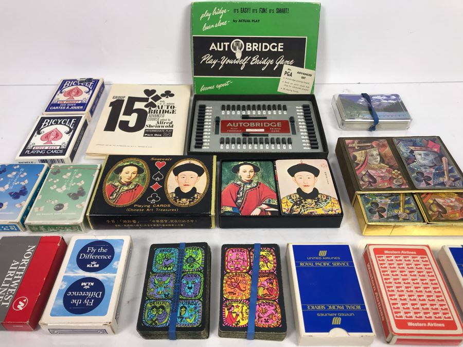 Vintage Playing Cards Collection Featuring Chinese Art Treasures Playing Cards, Airline Advertising Cards And Autobridge Bridge Game With Box [Photo 1]