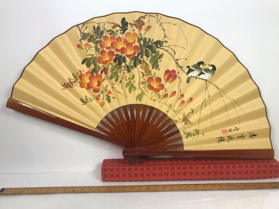 Large Asian Artwork Fan With Original Box [Photo 1]