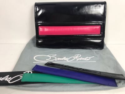 Sandra Roberts Eighties Style Clutch Handbag With Multiple Colored Velcro Bands And Dust Cover