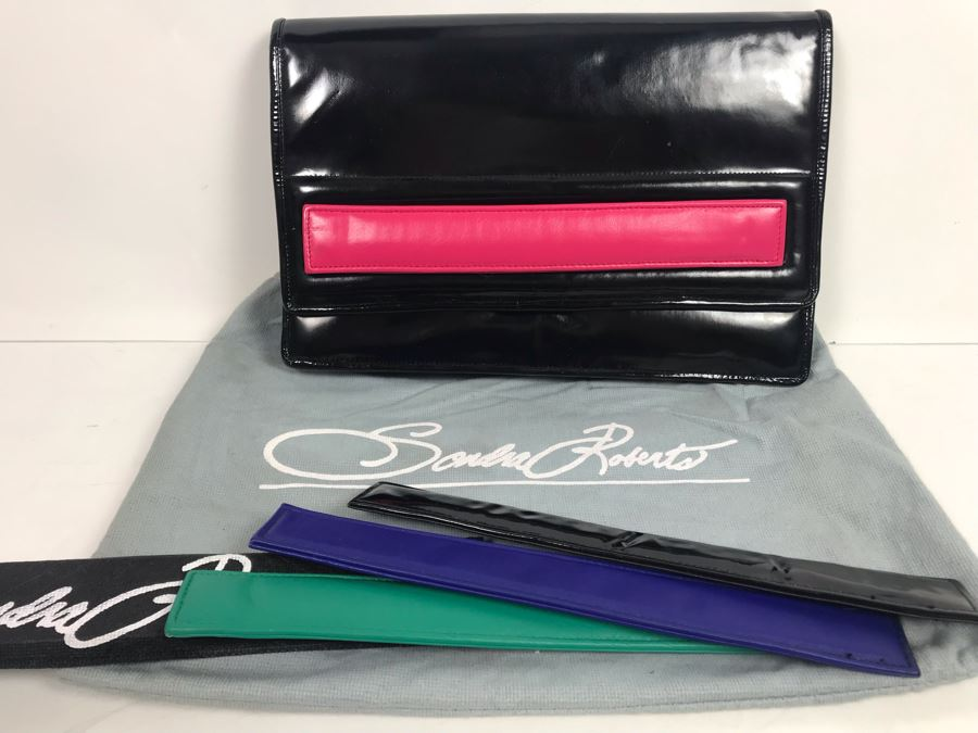 Sandra Roberts Eighties Style Clutch Handbag With Multiple Colored Velcro Bands And Dust Cover [Photo 1]