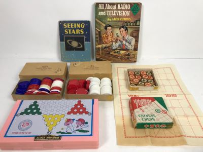Vintage Wooden Chinese Chess Set, Magnetic Chess Set, Plastic Poker Chips And Vintage Hardcove Books: Seeing Stars And All About Radio And Television