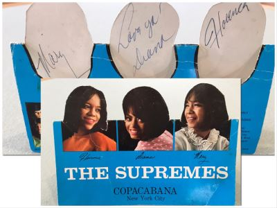 SIGNED The Supremes Table Promotional Card From Debut Engagement At Prestigious Copacabana Nightclub In New York City Signed By Dianna Ross, Florence Ballard And Mary Wilson - Client Attended Event (Cards Were On Each Table)