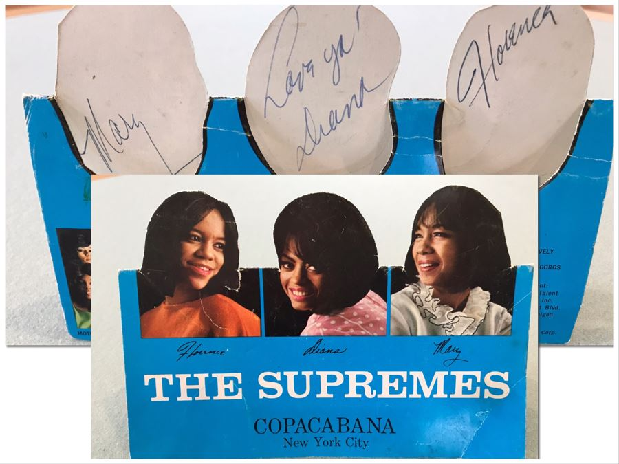 SIGNED The Supremes Table Promotional Card From Debut Engagement At Prestigious Copacabana Nightclub In New York City Signed By Dianna Ross, Florence Ballard And Mary Wilson - Client Attended Event (Cards Were On Each Table) [Photo 1]