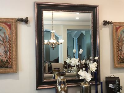Stunning Beveled Glass Wall Mirror With Silver And Black Frame 47'W X 59'H