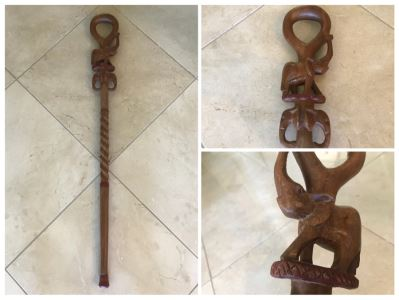 Carved Wooden Walking Stick Cane Staff With Elephants Made In India