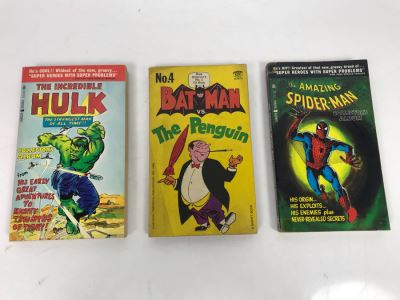 Set Of (3) Vintage Comic Paperback Books: No. 4 Batman Vs. The Penguin 1st Printing 1966, 1966 The Amazing Spider-Man Collector's Album And 1966 The Incredible Hulk Collector's Album