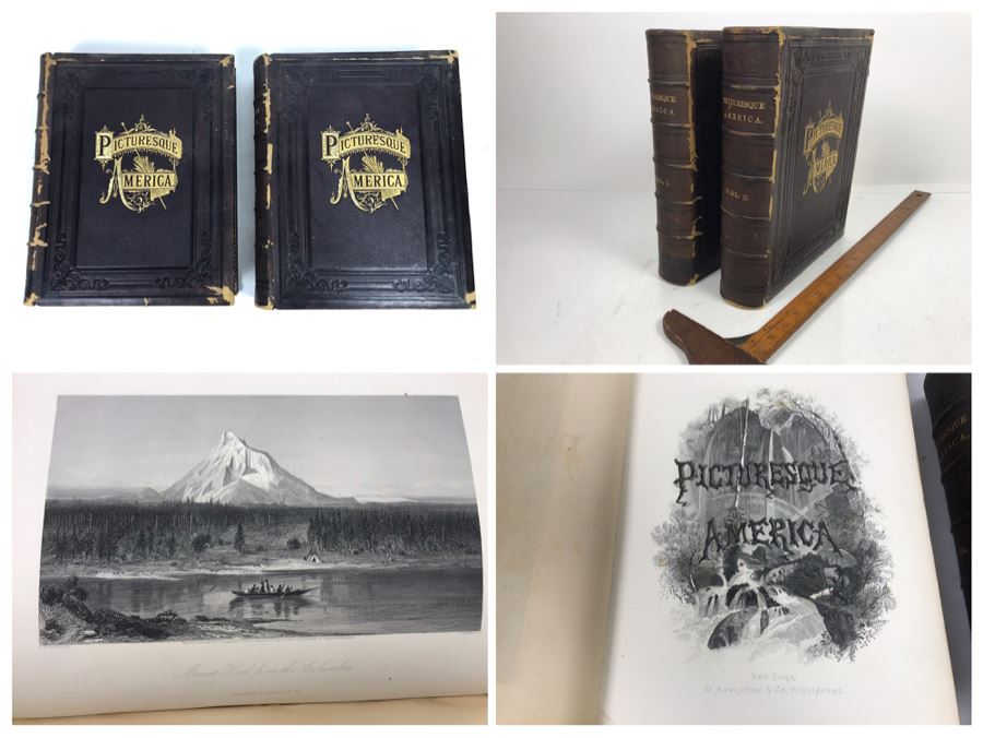 Antique 1872 (Vol 1) And 1874 (Vol 2) Hardcover Books: Picturesque America; Or, The Land We Live In With Illustrations On Steel And Wood By Eminent American Artists 10.5' X 12.5' [Photo 1]