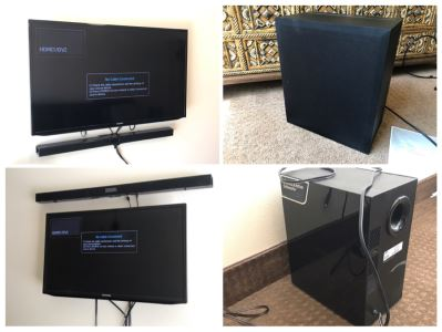 (2) Flat Panel Samsung TVs With (2) Samsung Soundbars And Subwoofers HW-JM45C With Remotes