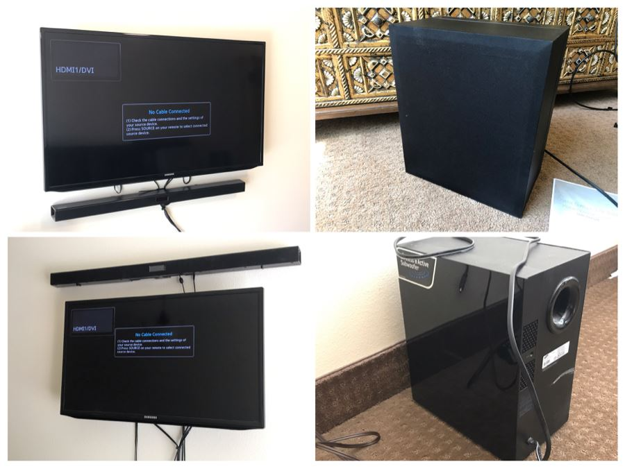 (2) Flat Panel Samsung TVs With (2) Samsung Soundbars And Subwoofers HW-JM45C With Remotes [Photo 1]