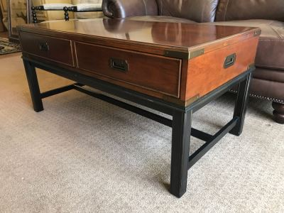 Thomasville Wood And Brass Campaign Style Coffee Table With Drawers And Inlaid Wooden Top